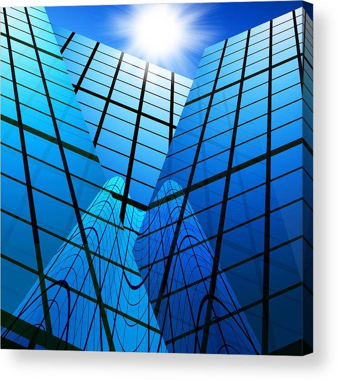 Abstract Acrylic Print featuring the photograph Abstract Skyscrapers by Setsiri Silapasuwanchai