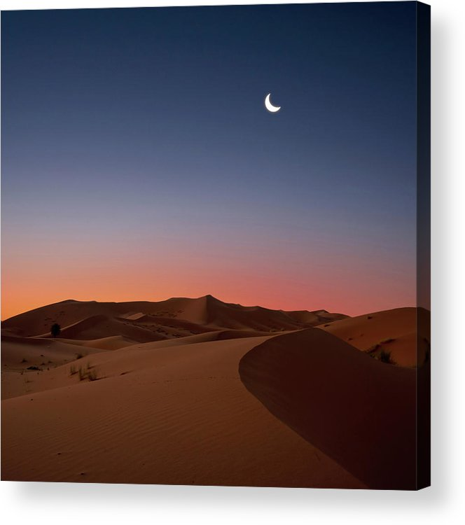 Square Acrylic Print featuring the photograph Crescent Moon Over Dunes by Photo by John Quintero