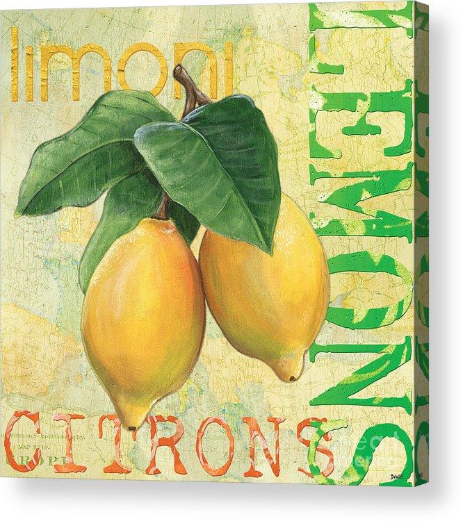 Lemon Acrylic Print featuring the painting Froyo Lemon by Debbie DeWitt