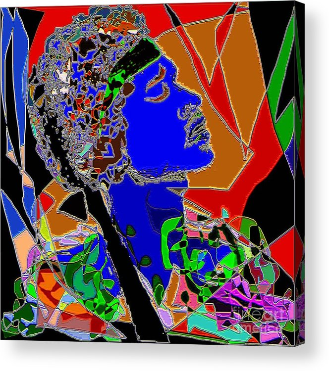Portrait Acrylic Print featuring the painting Jimi In Heaven Colorful by Navo Art