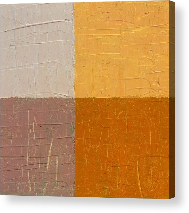 Abstract Acrylic Print featuring the painting Mauve And Peach by Michelle Calkins