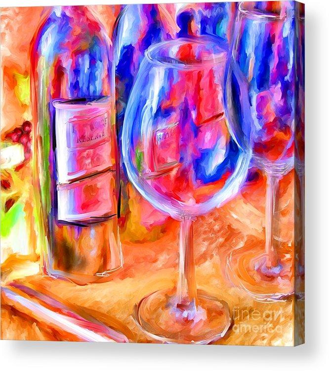 Wine Acrylic Print featuring the mixed media North Carolina Wine by Marilyn Sholin
