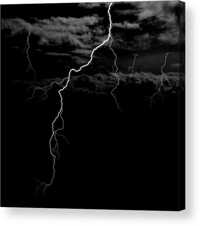 Lightning Acrylic Print featuring the digital art Stormy Night by Brad Scott