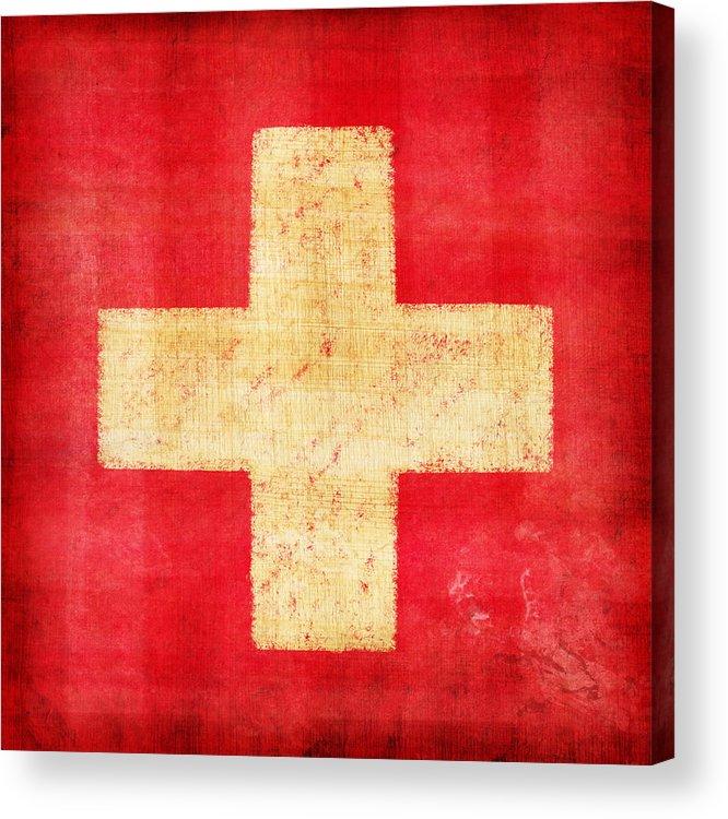 Abstract Acrylic Print featuring the photograph Switzerland Flag by Setsiri Silapasuwanchai