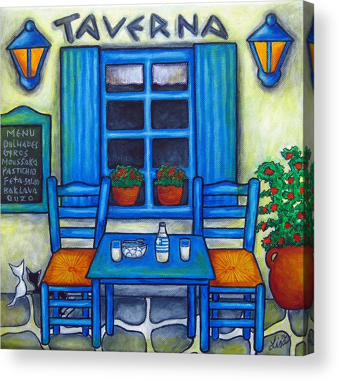Blues Acrylic Print featuring the painting Table For Two In Greece by Lisa Lorenz