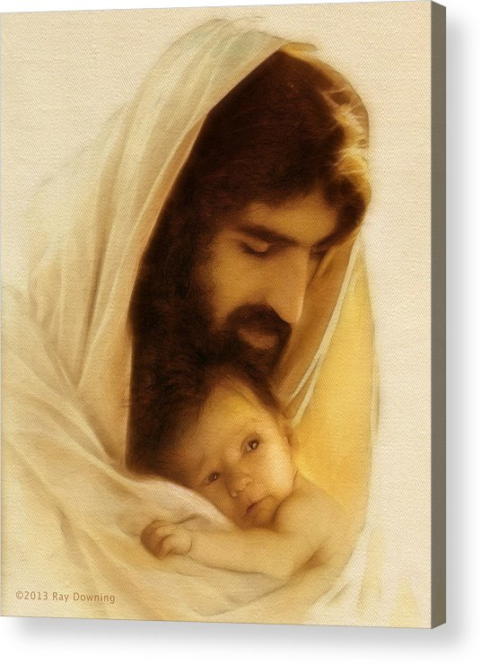 Jesus Acrylic Print featuring the digital art Suffer The Little Children by Ray Downing