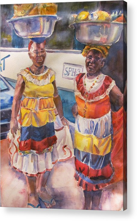 Figures Acrylic Print featuring the painting Cartegna Ladies by Joyce Kanyuk
