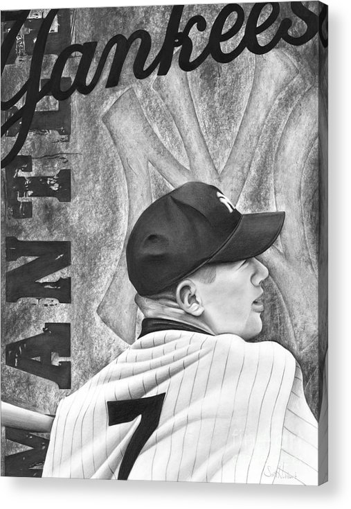 New York Yankees Acrylic Print featuring the drawing Mickey Mantle by Scott Hubbert