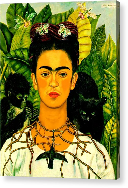 Frida Paintings Acrylic Print featuring the painting Frida Kahlo Self Portrait With Thorn Necklace And Hummingbird by Pg Reproductions