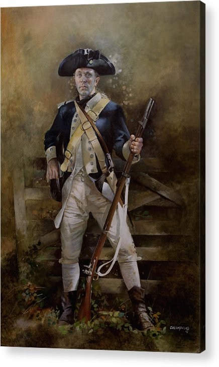 American War Of Independance Acrylic Print featuring the painting American Infantryman C.1777 by Chris Collingwood