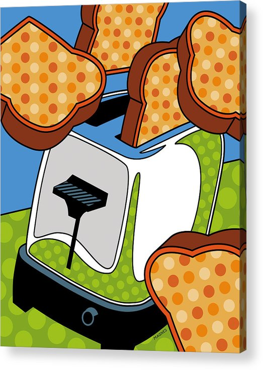 Toast Acrylic Print featuring the digital art Flying Toast by Ron Magnes