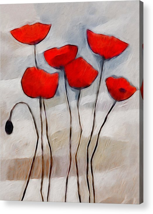 Poppies Acrylic Print featuring the painting Poppies Painting by Lutz Baar