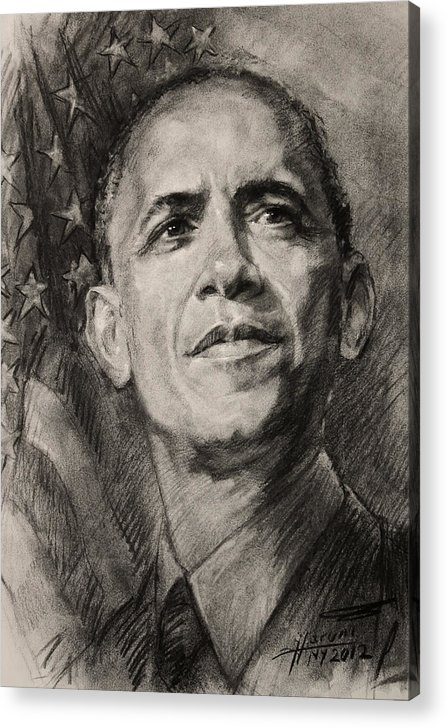 Barack Obama Acrylic Print featuring the drawing Commander-in-chief by Ylli Haruni