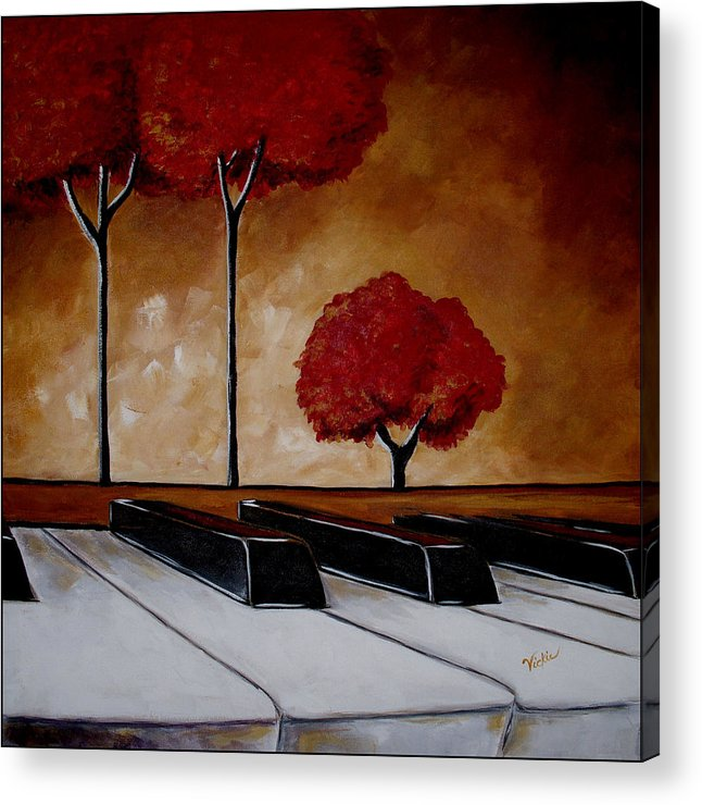 Piano Acrylic Print featuring the painting The Piano Man's Dream by Vickie Warner