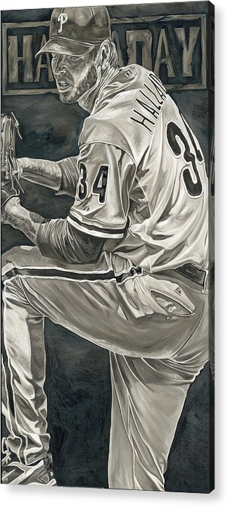 Roy Halladay Philadelphia Phillies Pitcher Baseball Painting David Courson Art Acrylic Print featuring the painting Roy Halladay by David Courson