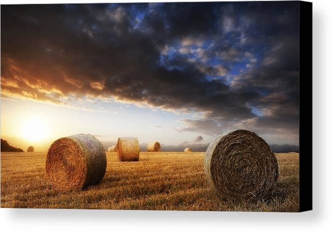 Landscape Canvas Print featuring the photograph Beautiful Golden Hour Hay Bales Sunset Landscape by Matthew Gibson