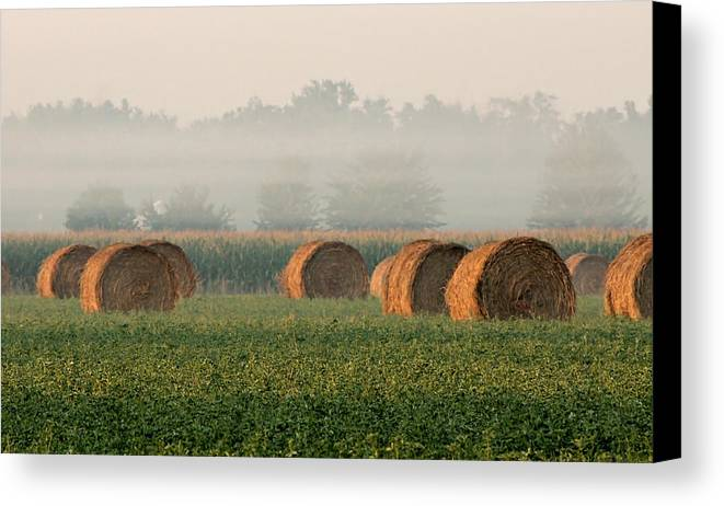 Haybale Canvas Print featuring the photograph Haybales by Sarah Boyd