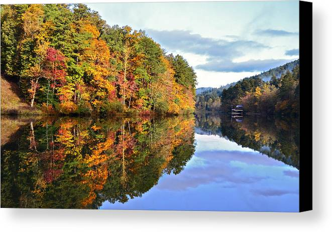 Landscape Canvas Print featuring the photograph Reflections Of Autumn by Susan Leggett