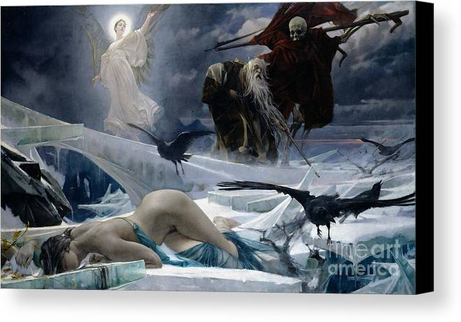 Ahasuerus Canvas Print featuring the painting Ahasuerus At The End Of The World by Adolph Hiremy Hirschl