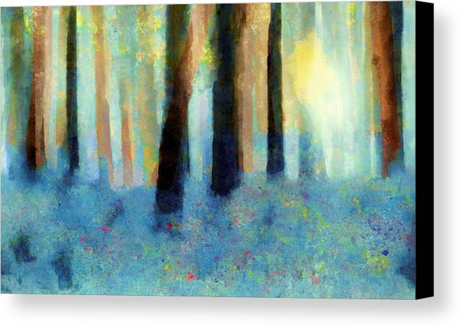 Abstract Canvas Print featuring the painting Bluebell Wood by Valerie Anne Kelly