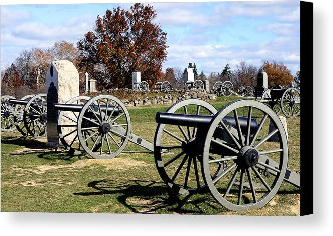 Gettysburg Canvas Print featuring the photograph Civil War Cannons At Gettysburg National Battlefield by Brendan Reals