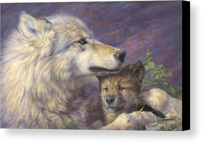 Wolf Canvas Print featuring the painting Mother's Love by Lucie Bilodeau