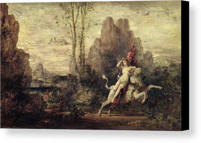 Metamorphosis; Zeus; Landscape; Symbolist; Female; Nude; Abduction; Abducted; Enlevement; Europe Canvas Print featuring the painting The Rape Of Europa by Gustave Moreau