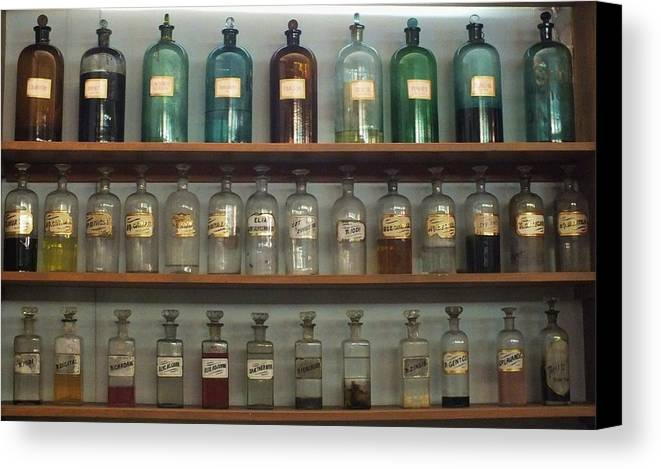 Antique Bottles Canvas Print featuring the photograph Apocethary Jars by Anna Villarreal Garbis