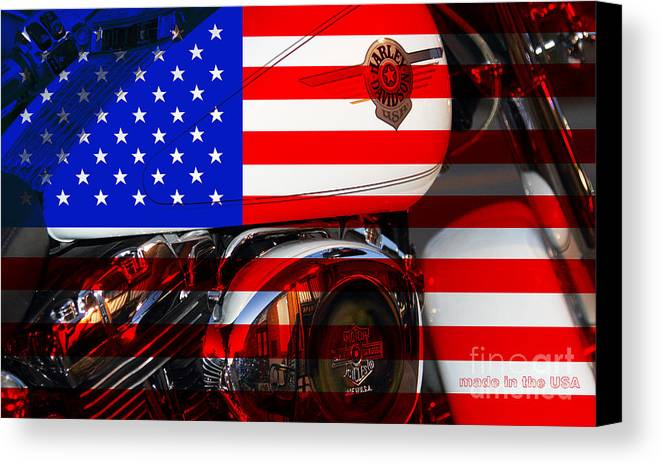 Transportation Canvas Print featuring the photograph Made In The Usa . Harley-davidson . 7d12759 by Wingsdomain Art and Photography