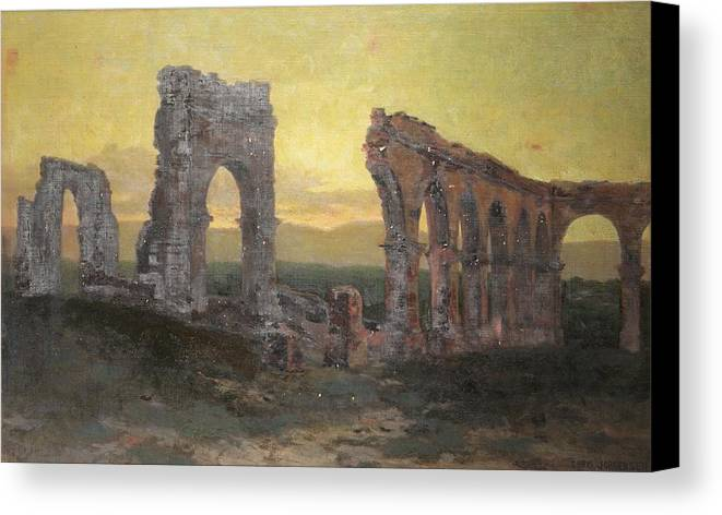 Ruin Canvas Print featuring the painting Mission Arcades by Christian Jorgensen