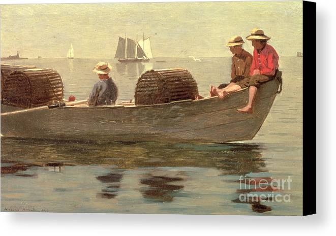 Boat Canvas Print featuring the painting Three Boys In A Dory by Winslow Homer