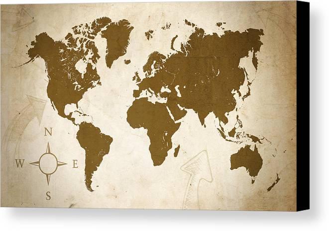 Map Canvas Print featuring the digital art World Grunge by Ricky Barnard