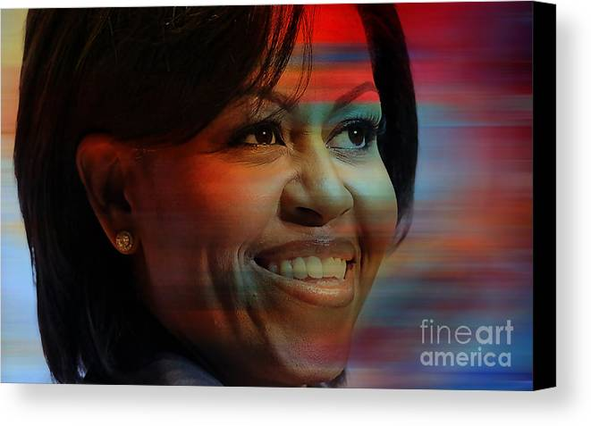 Michelle Obama Photographs Canvas Print featuring the mixed media Michelle Obama by Marvin Blaine