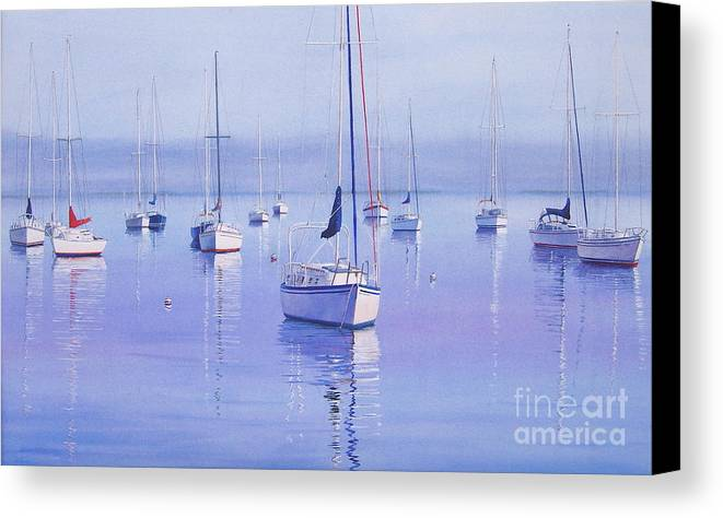Sailboats Canvas Print featuring the painting Morning Reflections by Karol Wyckoff