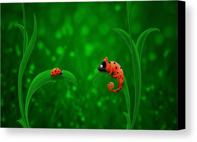 Abstract Canvas Print featuring the drawing Beetle Chameleon by Gianfranco Weiss