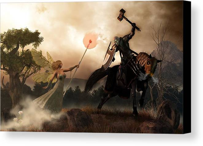 Renewal Canvas Print featuring the digital art Death Knight And Fairy Queen by Daniel Eskridge
