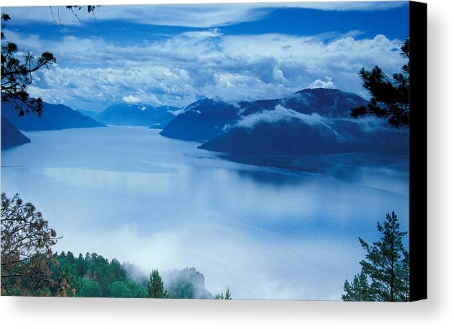 Fog; Landscape; Mist; Mountain; Mountains; Nature; Nobody; Outdoors; Outside; River; Rivers & Lakes; Scenery; Scenic; Scenics; Sky; Trees; Water Canvas Print featuring the photograph Landscape by Anonymous