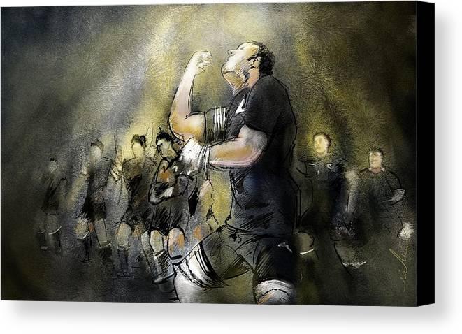 All Blacks Canvas Print featuring the painting Maori Haka by Miki De Goodaboom