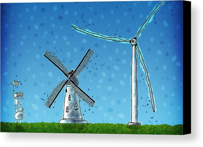 Abstract Canvas Print featuring the drawing Wind Blows by Gianfranco Weiss