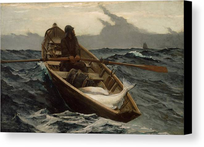 Winslow Homer Canvas Print featuring the painting Winslow Homer The Fog Warning by Winslow Homer