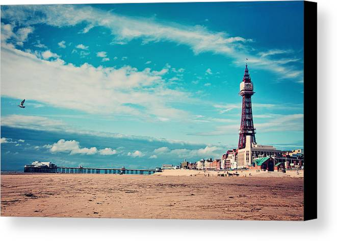 Horizontal Canvas Print featuring the photograph Blackpool Tower And Pier by Michelle McMahon