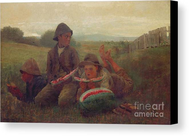 Children Canvas Print featuring the painting The Watermelon Boys by Winslow Homer