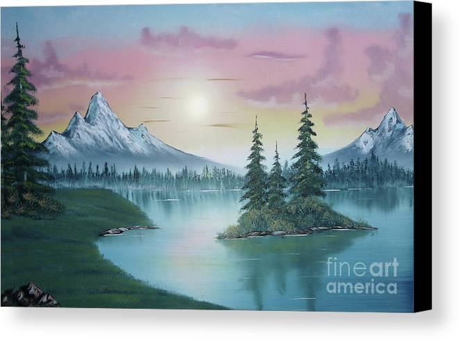 Mountain Lake Painting A La Bob Ross Canvas Print featuring the painting Mountain Lake Painting A La Bob Ross 1 by Bruno Santoro