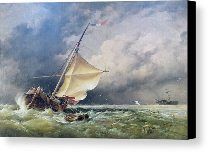 Shipping Canvas Print featuring the painting A Dutch Beurtman Aground by Edward William Cooke
