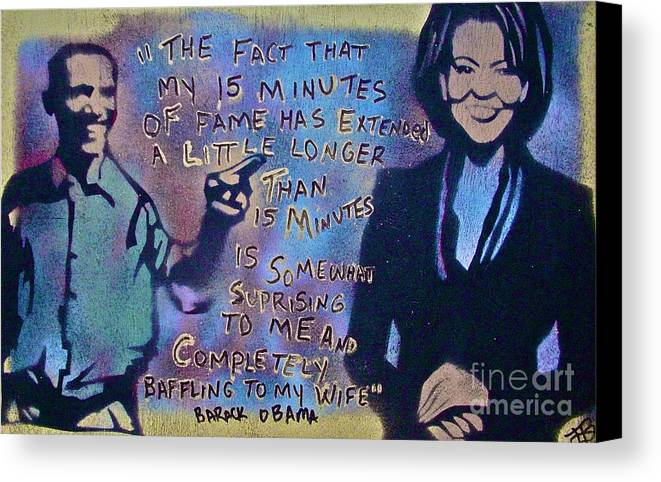 Barack Obama Canvas Print featuring the painting Barack With Michelle by Tony B Conscious