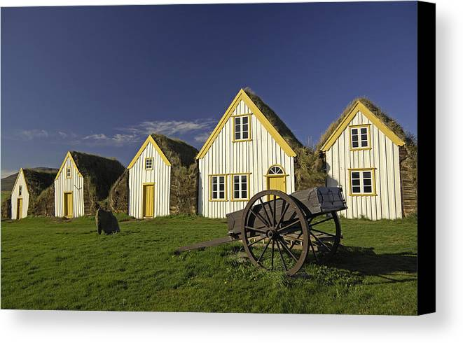 Home Canvas Print featuring the photograph Icelandic Turf Houses by Claudio Bacinello