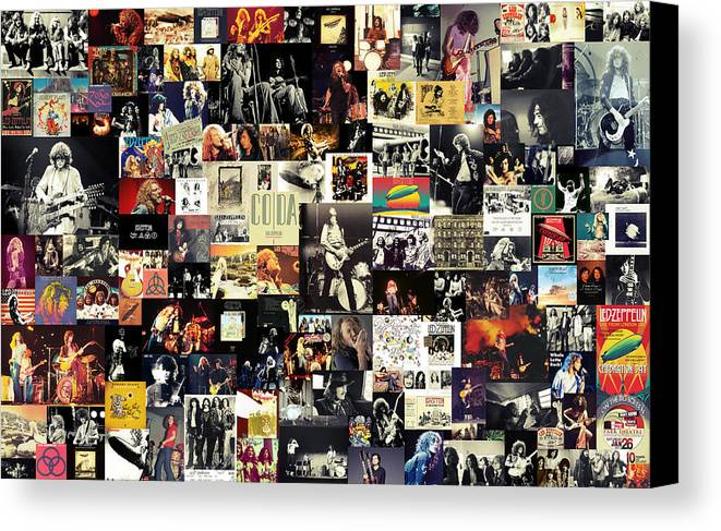 Led Zeppelin Canvas Print featuring the digital art Led Zeppelin Collage by Taylan Soyturk