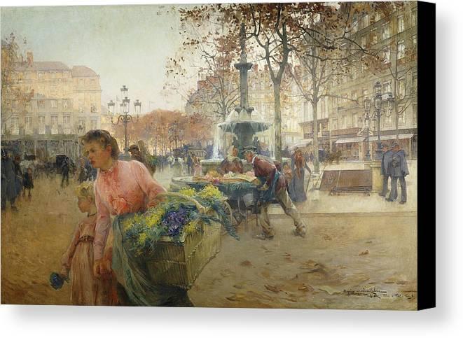 1900s Canvas Print featuring the painting Place Du Theatre Francais Paris by Eugene Galien-Laloue