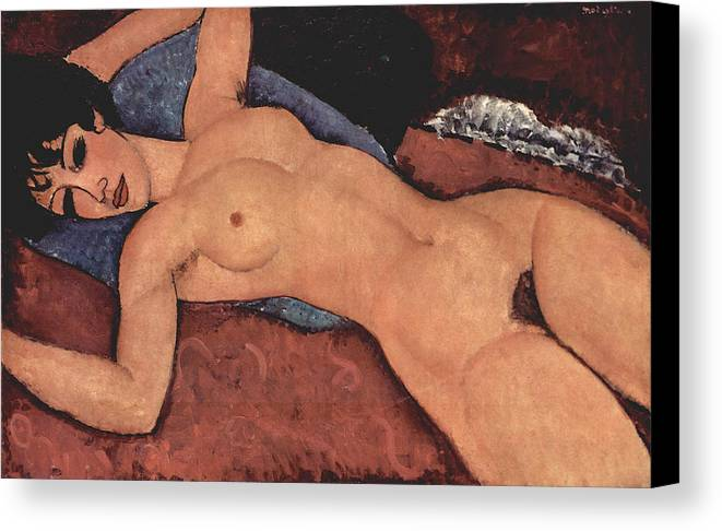Red Female Nude Painting Canvas Print featuring the painting Red Female Nude Painting by Amedeo Modigliani