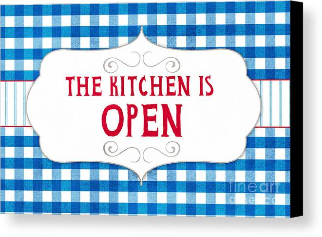 Kitchen Canvas Print featuring the painting The Kitchen Is Open by Linda Woods